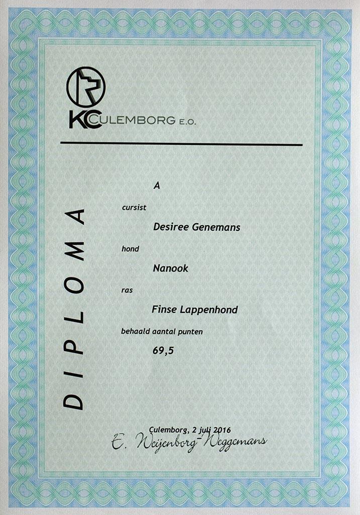 Nanook heeft haar diploma gehoorzaamheid A